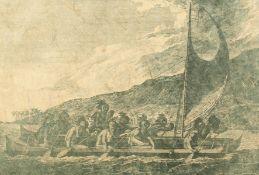 "A print of a Polynesian sailing scene with traditional Polynesian canoe, print, 11.5"" x 17.5""."
