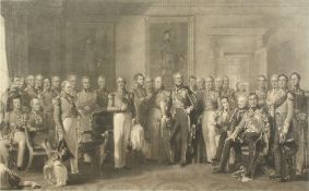 An assembly of figures in military uniform, 'The Waterloo Heroes Assembled at Apsley House',