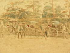"""Japanese (c. 1880-1890), A colonial scene of figures on rickshaws, hand-tinted photograph, 8"""" x"""