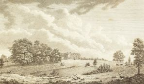 A small group of antique engravings, views of country houses by various hands, engravings, all 7.
