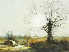 Peter Newcombe (20th century) British, 'Sulgrave Evening ', A Northamptonshire landscape,