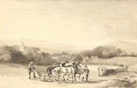 "A ploughing scene, monochrome watercolour, 7"" x 10"". Unframed."