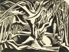 Paul Nash (1889-1946) British, A woodland scene with two figures, one reclining, woodblock print,