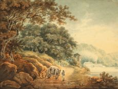 Style of Payne, A French scene of a path along a river with horse and cart, watercolour, monogramed,