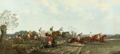 After Benjamin Herring (1830-1871) British, 'Silks and Satins of the Field', a horse racing scene,