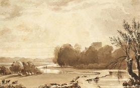 "Style of John Varley, A scenic river landscape, Ink & wash, unframed, 6"" x 9""."