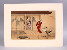 A JAPANESE WOOD BLOCK PRINT PICTURE OF FIGURES ON BALCONY SETTINGS, artist seal and signed, possibly