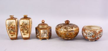 A MIXED LOT OF JAPANESE MEIJI PERIOD SATSUMA ITEMS, consisting of a pair of vases, one af, 12cm