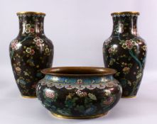 A 19TH / 20TH CENTURY CHINESE CLOISONNE TRIO, consisting of a pair of vases and a planter, decorated