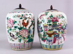 TWO 19TH CENTURY CHINESE FAMILLE ROSE PORCELAIN GINGER JARS & COVERS, each decorated with profuse