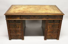 A RECTANGULAR TOP MAHOGANY PEDESTAL DESK, with inset leather top, three frieze drawers and three