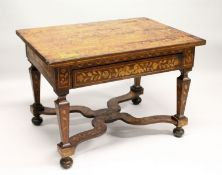 A 19TH CENTURY ROSEWOOD AND MARQUETRY TABLE, the top profusely inlaid with a classical urn, birds,