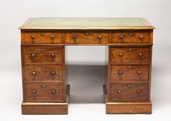 A VICTORIAN MAHOGANY PEDESTAL DESK, with leather inset top, three frieze drawers, drawers to the