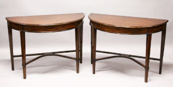 A PAIR OF SHERATON REVIVAL INLAID MAHOGANY DEMILUNE SIDE TABLES, EARLY 20TH CENTURY, with an