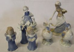 Gerold Porcelain figurine of young girl and geese, Lladro style figurine etc.