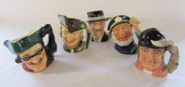 5 large Royal Doulton character jugs - Dick Turpin D 6528, Robin Hood D 6527, Gone Away D 6531,