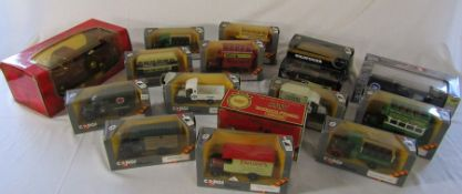 Quantity of boxed die cast cars and buses inc Corgi