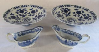 Pair of Chinese blue and white bowls D 25 cm H 8 cm & a pair of transfer printed blue and white