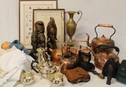 Selection of brassware, linen, copper kettles, 2 modern framed samplers, Grimsby pen & ink
