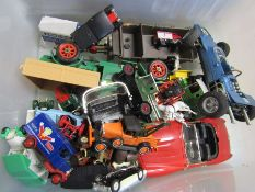 Box of play worn die cast cars etc