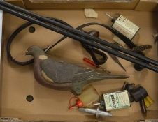 Vintage wooden pigeon decoy (some damage), shotgun cleaning rods etc