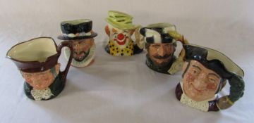 5 Large Royal Doulton character jugs - Old Charley D 5420, Beefeater D 6206, The Clown D 6834, The
