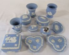 Selection of Wedgwood jasperware ceramics inc trinket pots and vases