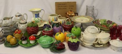 Selection of mixed ceramics and glassware including hand painted jugs, fruit ware, cranberry
