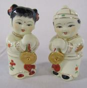 Pair of Chinese ceramic figurines H 14.5 cm