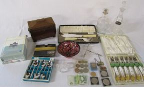 Various ceramics inc Royal Crown Derby, glass decanters, wooden tea caddy, silver plate, assorted