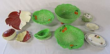 Selection of Carlton ware dishes inc salad bowl (one dish af), Wedgwood 'wild strawberry' pot &