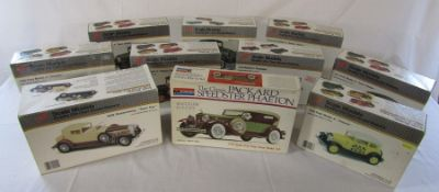 9 boxed USA metal die cast model car kits inc 1928 Duesenberg 'Town car', 1928 Ford model A '