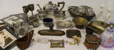 Selection of silver plate including 3 piece tea service, brassware etc.