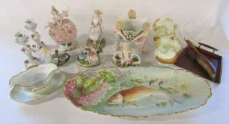 Various Continental figurines inc Capodimonte, large Limoges fish plate (af), pair of