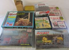 Various model kits inc 1829 Stephenson Rocket, British steam of yesteryear DVD collection, TT: