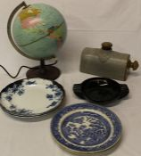 Danish Scan-globe, stonewear hot water bottle, Guinness ashtray & Victorian blue and white plates