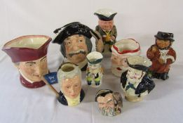 Assorted character jugs and toby jugs inc Royal Doulton  (some af)