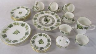 Royal Worcester 'The Worcester Hop - Mathon' pattern part dinner service etc inc clock, large