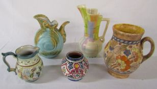 Selection of pottery vases and ewers inc Glyn Colledge, Beswick 177/1, Manchester 12030 and Crown