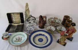 Various ceramics inc Delft, cased silver plate cutlery & soapstone figure etc