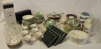 Selection of mixed ceramics & glassware including Minton Haddon Hall (2 boxes)
