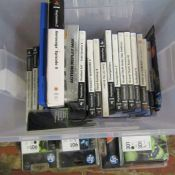 Box of Playstation 2 games and ink cartridges