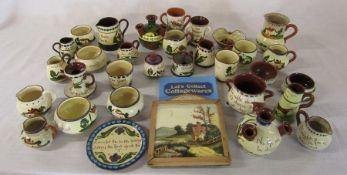 Quantity of Cottage ware / Torquay ware pottery together with book and plaque