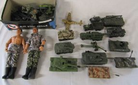 Selection of play worn military die cast tanks etc inc Dinky and Corgi & vintage play worn Action