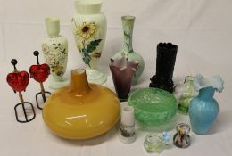 Victorian black glass spill vase, opaque glass vases with hand-painted decoration, mustard glass