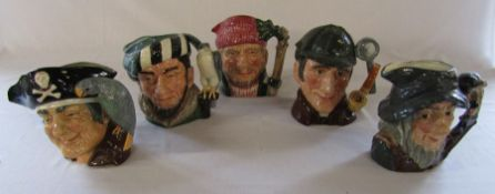 5 large Royal Doulton character jugs - Long John Silver D 6335, The Falconer D 6533, Lumberjack D