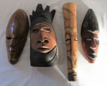 4 Southern Africa wooden face masks