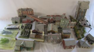 Various model railway model buildings inc Church, Station, row of houses etc (sample shown)
