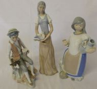 Valencia figures of a girl holding a dove (af), a girl carrying water & Cassades figure of a boy