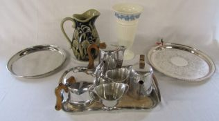 Piquot ware tea set, Wedgwood vase & silver plated trays etc